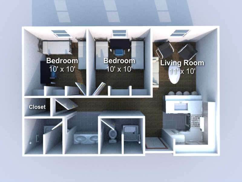 floorplan 2 bedroom, 2 bath  4 person