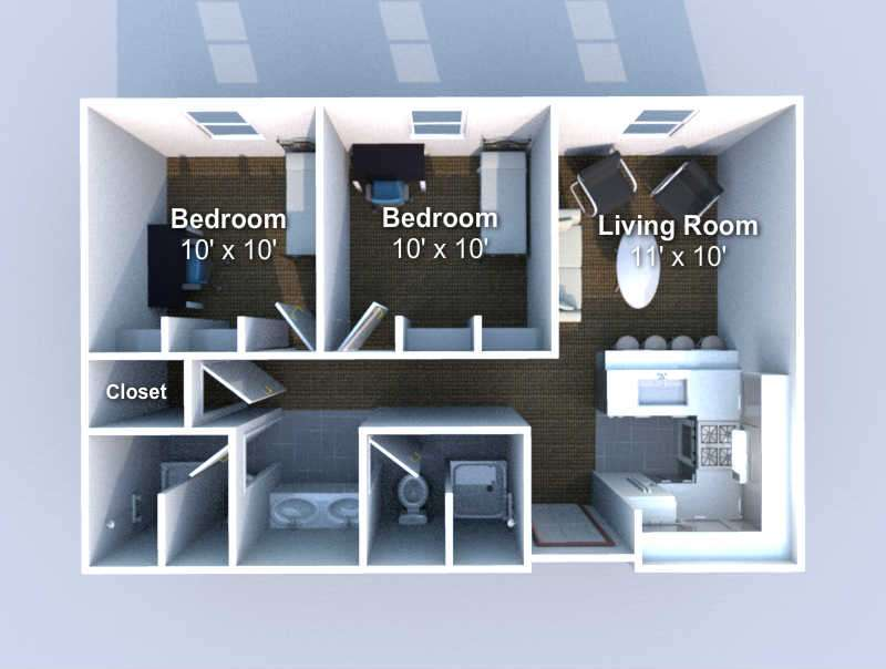 floorplan 2 bedroom, 2 bath  2 person