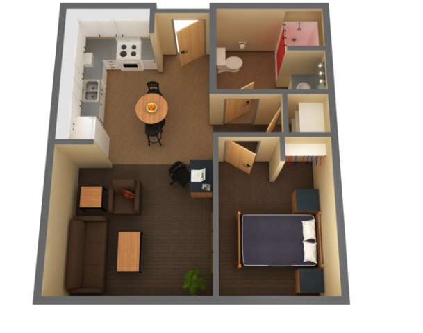 floorplan 1 bedroom, 1 bath  2 person