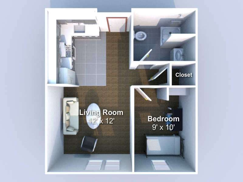floorplan 1 bedroom, 1 bath  1 person